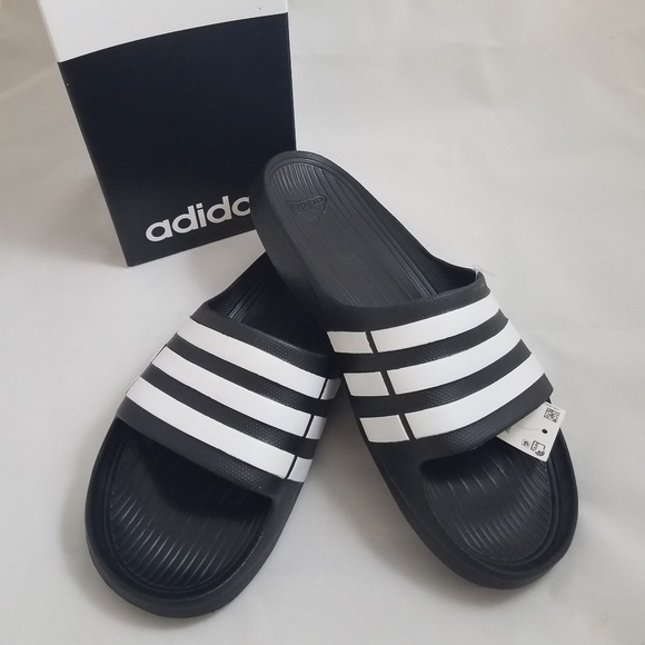 for whole family designer fashion lowest discount Adidas Duramo slides black white NWT NIB 11M
